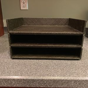 3 New Container Store Drk Brown Woven Letter Trays